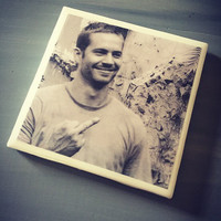 Paul Walker Ceramic Tile Drink Coaster; The Fast and The Furious; Celebrity; Middle Finger; Home Decor; House Warming Gift; Movie; Actor