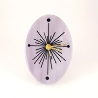Contemporary Wall Clock - Fused Glass Clock - Decorative Wall Clock - Oval Wall Clock - Radiant Orchid Decor - Handmade