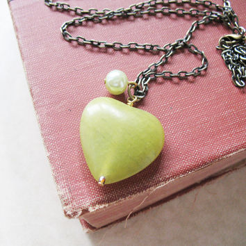 Long Necklace - Green Jade Heart With Pearl Necklace