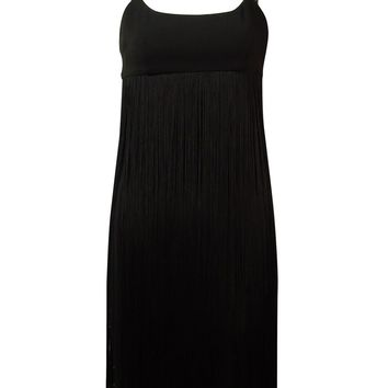 Calvin Klein Women's Empire-Waist Fringed Spaghetti Dress