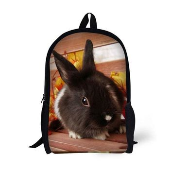 17-inch student bag laptop backpack school bag Grass Rabbit Bunny pattern large capacity multifunctional trend backpack