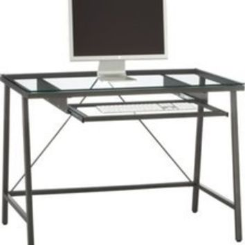 CB2 Dwight Desk - Glass and steel industrial