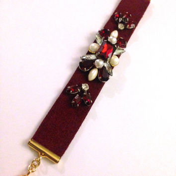 Ruby, Pearl, and Crystal Beaded Microsuede Cuff Bracelet with Gold Clasp