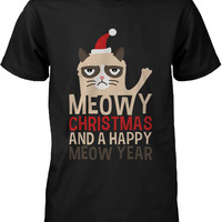 Men's Christmas Graphic Tees - Cute Grumpy Cat Meowy X-mas Black T-shirt