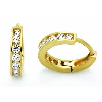 14k Yellow gold layer Brilliance Round Cut CZ Hoop Huggie Earring on Solid Silver