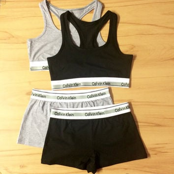 Reworked Underwear Set Calvin Klein Sports Bra and Shorts in Grey or Black