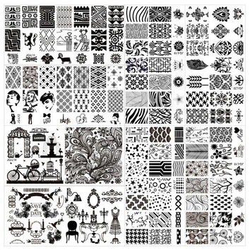 Blueness 20 Designs Different Shape New Design Nail Art Template Stamping Steel Plate For Nails Print Template DIY Nail Toos JH124 = 5658850945