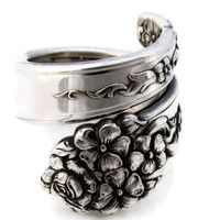 Spoon Ring Moss Rose Choose Your Size
