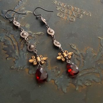 Long Garnet Teardrop Gold Bronze Fleur de Lis Black Chain Earrings