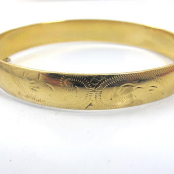 Vintage 9ct Etched Bangle Bracelet, Half Engraved Solid 9K Yellow Gold Hinged Bracelet Floral Scroll Design