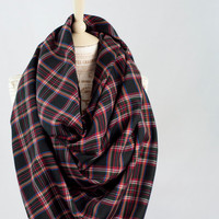 Blanket Scarf Black Plaid, Red Oversized Tartan Wrap Scarf, Flannel Woven Cotton Scarf, Fashion Cowl  Scarf, Womens Scarves, Infinity Scarf