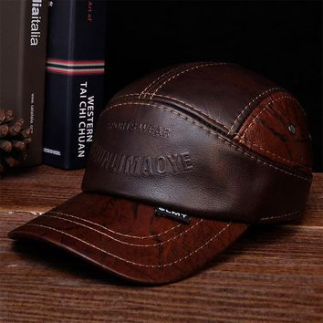 Sports Hat Cap trendy  HL033 Mens Leather Baseball Ball Cap Hat Biker Trucker Sports KO_16_1