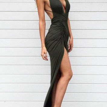 Green V-Neck Cut-out Cross Strap Back Ruched  Split Maxi Dress