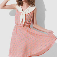 Contrast Sailor Collar Pink Dress [NCSKI0456] - $48.99 :