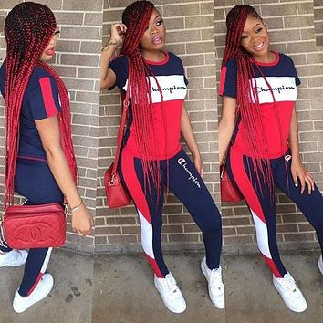 Champion New Popular Women Color Matching Short Sleeve Top Trousers Set Two-Piece Sportswear Navy Blue