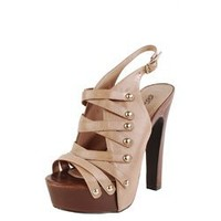Breckelle's Soho02 Blush Strappy Platform Slingback Heels and Womens Fashion Clothing & Shoes - Make Me Chic
