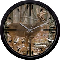 La Crosse Technology 407-714 14-Inch Wildlife Crosshair Wall Clock, Whitetail Deer Design