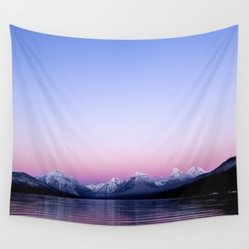 pastel mountain lake sunset Wall Tapestry by 2sweet4words Designs