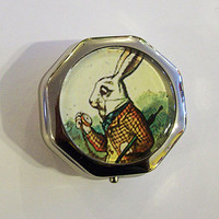 Alice in Wonderland pillbox retro white rabbit vintage Victorian fantasy case