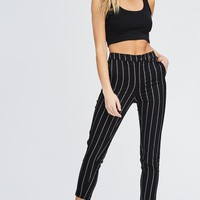 Shark Tank Pinstriped Pants in Black
