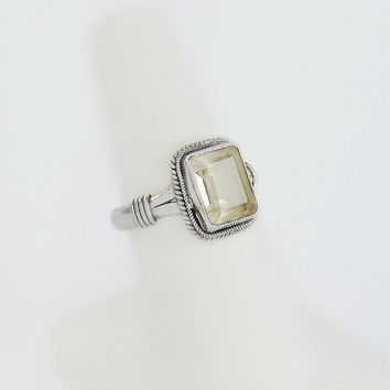 Clear Stone Ring - Sterling Silver Square Clear Gem Ring Size 7 - Step Cut Clear Stone Ring - Silver Rope Ring - Sterling Statement Ring