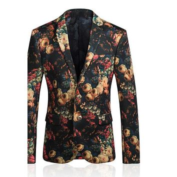 Men Floral Blazer Slim Fit Blazers For Men Vintage Flower Printed Casual Suit Jacket Latest Coat Design