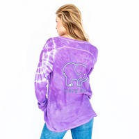 Purple Tie-Dye Thermal Henley