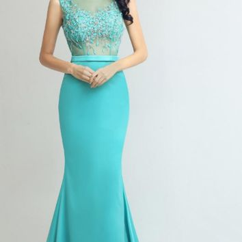 Formal Mermaid Evening Dresses Long Elegant Crystal Beading Sexy See-through Prom Party Gowns