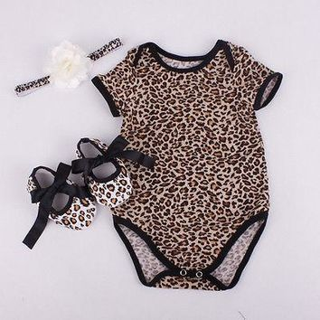 Cute Toddler Baby Girl Cotton Floral Leopard Bodysuit+Shoe+Hairband 3pcs Outfits Set Summer Newborn Baby Girl Clothes