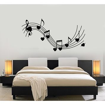 Vinyl Wall Decal Heart Notes Music love Melody Bedroom Art Stickers Mural (g1304)