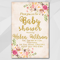 Watercolor Baby Shower Invitation, Peach Gold Invitation, Custom Baby Shower invitation XB320p