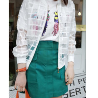 White Plaid Organza Jacket