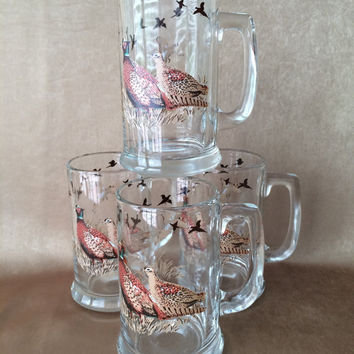 Pheasant Beer Mugs, Large Beer Steins, Vintage Barware, Hunting Beer Mugs, Sportsman Steins, Holiday Gift, Pheasant Hunting, Bird Glassware