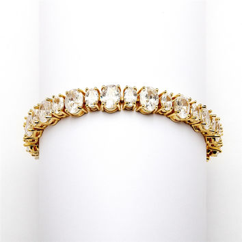 Multi Ovals Gold Cubic Zirconia Wedding Bracelet