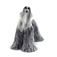 Afghan Hound Collectible Grey Silver White Poseable Miniature Cute Plush Art Doll Needle Felted Dog