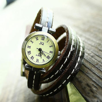 Wrap Wrist Watch Handmade Wristwatches Fashion Ladies Girls Womens Mens Leather Bangle Beaded Bracelet Quartz (TX0103)