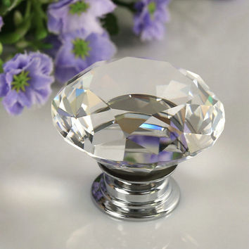 40mm Clear Diamond Shape Crystal Glass Pull Handle Cupboard Cabinet Drawer Door Furniture Knob Free Shipping