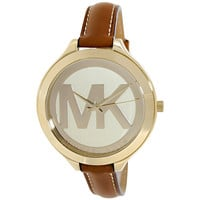Michael Kors MK2326 Women's Slim Runway Champagne Dial Yellow Plated Steel Brown Leather Strap Watch