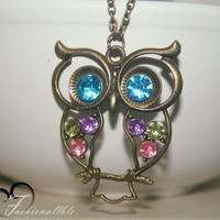 Colorful Owl Necklace with an Antique Bronze/Brass Finish