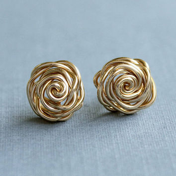 Gold filled Rose Earrings, handmade wirewrapped post earrings, bridal earrings for girl, flower girl, bridesmaids gifts
