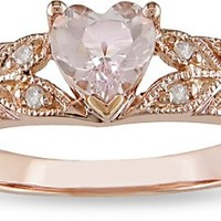 10k Rose Gold Accent Diamond and Morganite Ring (0.06 Cttw, G-H Color, I2-I3 Clarity)