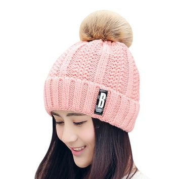 BONJEAN Letter B Beanies Women Winter Hats Crochet Knitting Wool Cap Fur Pompons Ball Warm Gorros Outdoor Brand Thick Female Cap