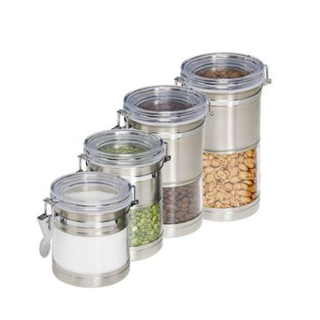 Honey-Can-Do™ KCH-01310 Stainless-Steel & Acrylic Clear Canister Containers,4-Pk