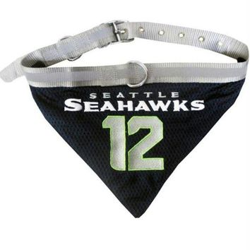 LMFONI Seattle Seahawks '12th Man' Pet Collar Bandana