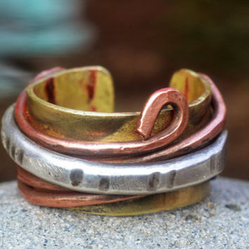 Layered Silver Copper Brass Men's / Women's Cuff Ring, Naturalist Ring, Mixed Metal Jewelry, Swirl / Curvy Metal Ring, Ethnic Ring, Rugged