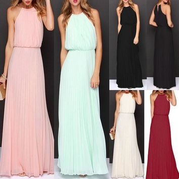 Womens Formal Long Chiffon Prom Evening Bridesmaid Wedding Ball Gown Maxi Dress