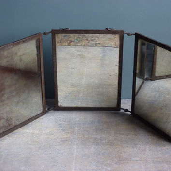 a vintage french antique traveling mirror folding mirror barbers mirror shabby chic antique dresser framed leaning mirror shabby chic