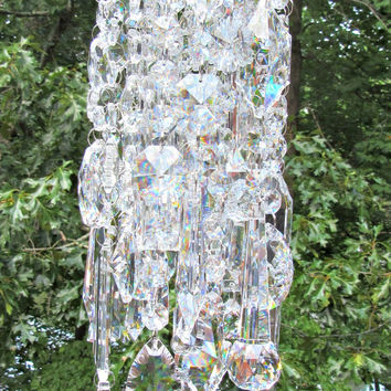 Asfour  Crystal Wind Chime, Crystal Sun Catcher, Garden Accent,  Anniversary Gift, House Warming Gift, Glass Wind Chime, Window Art, WC 140