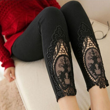 Black Lace Perspective Pencil Pants Embroidery Leggings Women's Clothing