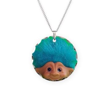 vintage troll doll lime gree Necklace